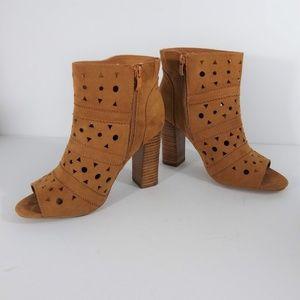 torrid Shoes - Torrid Cognac Cut Out Peep Toe Booties